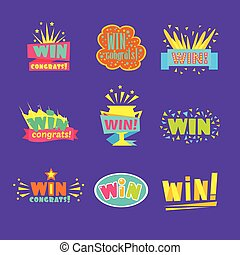 Win Congratulations Stickers Assortment Of Comic Designs For...