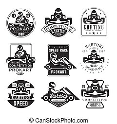 Premium Quality Procart Competition Club Set Of Black And White Emblems With Racing Karting Car And Racer Silhouettes