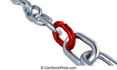 Metallic Chain with One red Stressed Link - Rotation of...