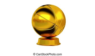 Basketball trophy in Gold with white background - Basketball...