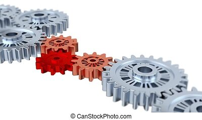 Blurred Silver Gears with One Red Turning Together