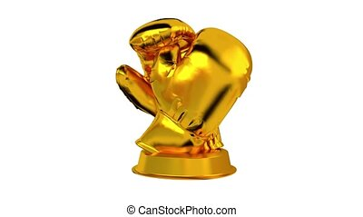 Boxing trophy in Gold with white background - Boxing trophy...