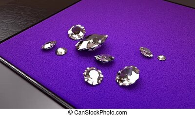 Camera Rotation around Nine White Diamonds on a Purple...