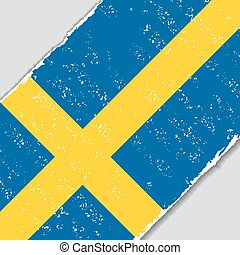 Swedish grunge flag. Vector illustration. - Swedish grunge...