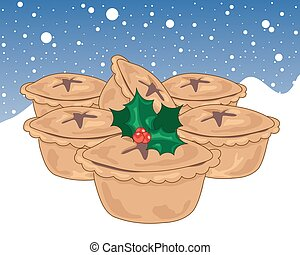 snowy mince pies - a vector illustration in eps 10 format of...
