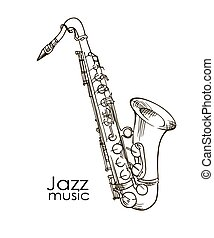 hand drawn saxophone - Saxophone Doodle, Hand Drawn Sketch,...
