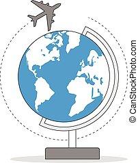 Airplane around globe