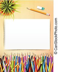 Top view of stationary blank paper and color pencil with copy space on wooden background vector illustration 002