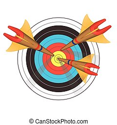 archery arrows in perspective on target
