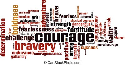 Courage word cloud concept. Vector illustration