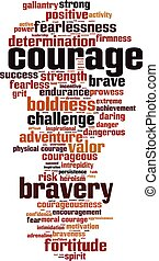 Courage word cloud - vertical - Courage word cloud concept....