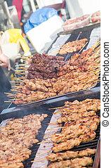 Grilling Meat Skewers - Meat Skewers Cooking in Vancouver...
