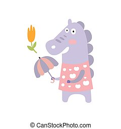 Violet Horse In Pink Polka-dotted Top With Umbrella In Autumn Standing Upright Humanized Animal Character Illustration In Funky Decorative Style