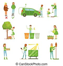 Men And Women Contributing Into Environment Preservation By...
