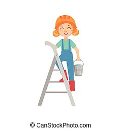 Girl Going Up The Ladder With The Bucket, Kid Dressed As Builder On The Construction Site Future Dream Profession Set Illustration