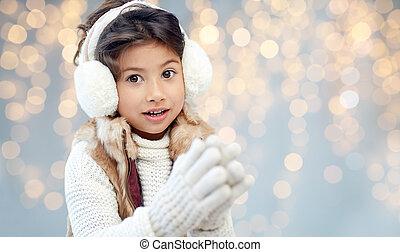 happy little girl wearing earmuffs - winter, christmas,...