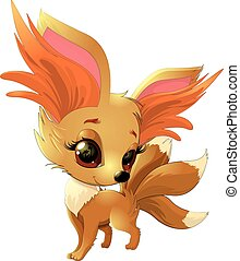 cute fox cartoon - cartoon cute fox on a white background