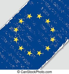 European Union grunge flag. Vector illustration.