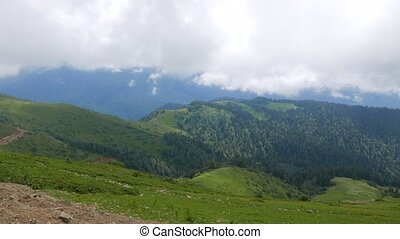 Mountains covered with forest. Ridge Aibga. Sochi, Russia....