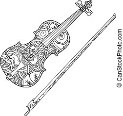 Coloring page with ornamental violin and fiddlestick...