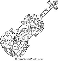 Coloring page with ornamental violin isolated on white background.