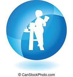 House Painter - House painter web button isolated on a...