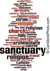 Sanctuary word cloud - vertical - Sanctuary word cloud...