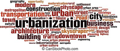 Urbanization word cloud - horizon - Urbanization word cloud...
