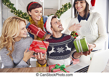 Handing over Christmas presents for everyone