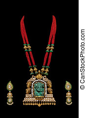 Diamond Necklace with crystal Idol of Lord Ganesh in Pendent...