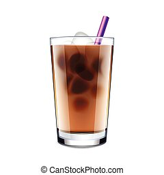 Ice coffee isolated on white vector - Ice coffee isolated on...