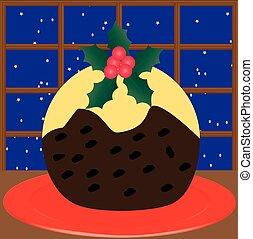 Christmas Pudding - A Christmas Pudding on a red plate...