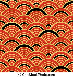 Red Gold Black Traditional Wave Japanese Chinese Seigaiha Pattern Background