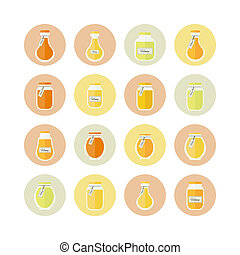 illustration. Honey jars circled icons set - Jars of honey...