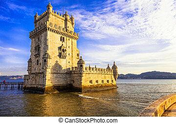 Torre of Belem - famous landmark of Lisbon, Portugal -...