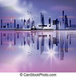City skyline with reflection in water