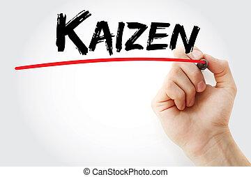 marcador,  kaizen, mão, escrita