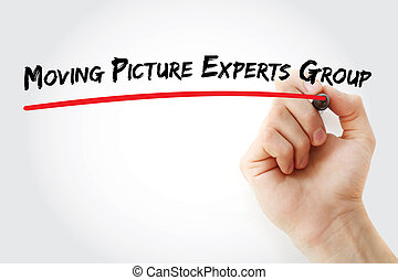 Hand writing Moving Picture Experts Group with marker,...