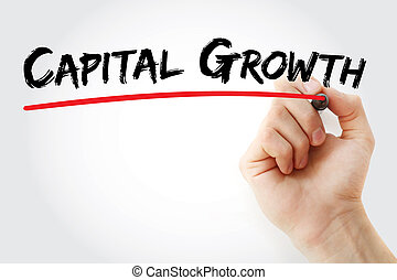 Hand writing Capital growth with marker, concept background