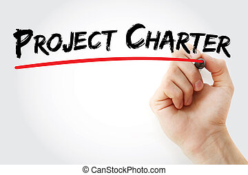 Hand writing Project Charter with marker, concept background