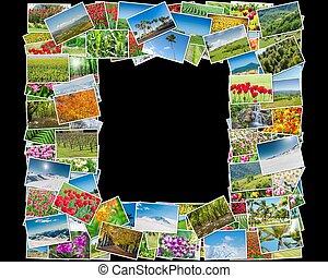Frame made of various nature photos