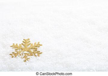 Snow flake on snow background - Golden snow flake on snow...