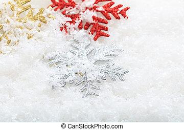 Snow flakes on snow background - Shiny snow flakes on snow...