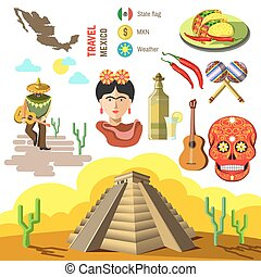 Vector set of Mexico symbols. - Set of Mexico travel...
