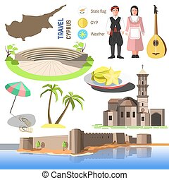 Vector Cyprus symbols and icons. - Set of Cyprus symbols and...