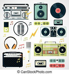 Set of music and sound icons. Vector various  equipment