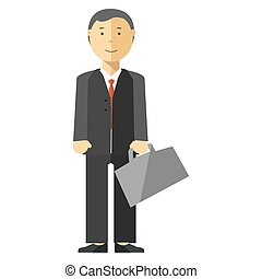 Businessman manager with suitcase in office.
