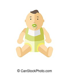 Cute little baby 0-12 months. Child with pacifier. Cartoon...