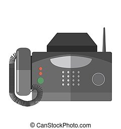 Vector illustration of fax machine. - Fax machine. Office...