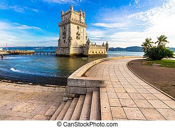 landmarks of Lisbon, Portugal - Torre of Belem - famous...